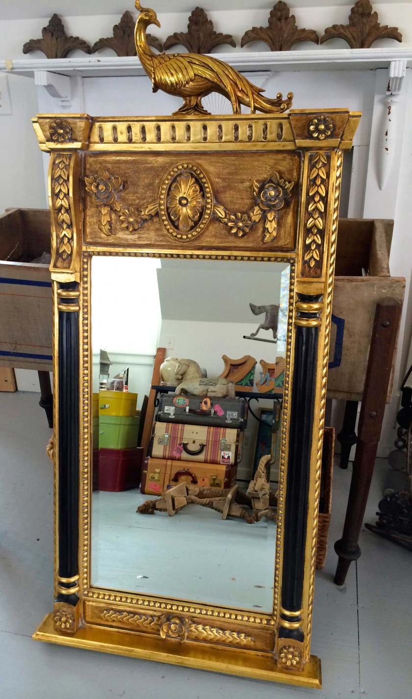 mirror with golden peacock